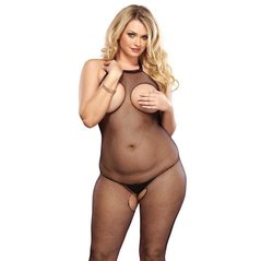 CATSUIT HALTER BODYSTOCKING CON CROTCH PLUS S