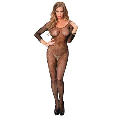 CATSUIT OPEN CROTCH BODYSTOCKING NERO OS