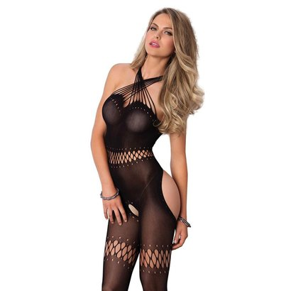 CATSUIT TWISTED STRAP BODYSTOCKING O/S NERO