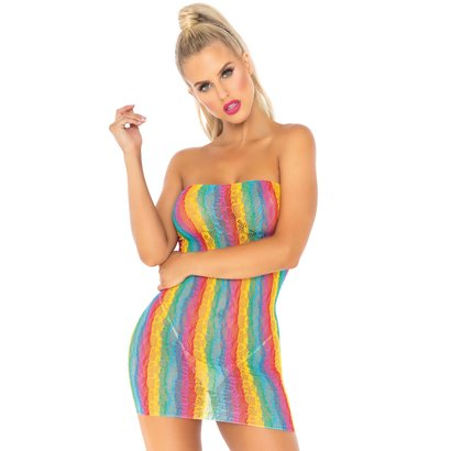 Rainbow leopard tube dress